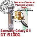 Samsung Galaxy S2 GT i9100G V Volume Pins 2 souder OR Bouton Contacts SLOT Son Nappe à S Dorés Circuit ORIGINAL Switch Connecteur Connector