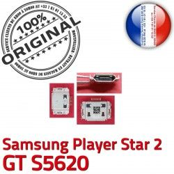 s5620 Dock USB STAR Connector Connecteur de ORIGINAL Micro 2 souder Pins Prise charge à C Chargeur Player Flex Samsung GT Dorés