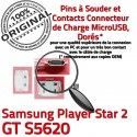 Samsung Player STAR 2 GT s5620 C à Dorés Connector ORIGINAL Chargeur Dock charge Prise Micro Pins de USB Connecteur Flex souder
