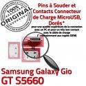 Samsung Galaxy Gio GT s5660 C ORIGINAL Chargeur Pins charge à Dorés Connecteur Flex Prise Micro Connector souder Dock de USB