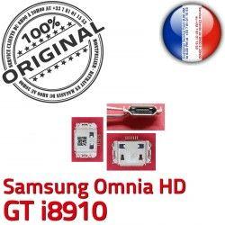 Flex Connecteur Prise Dock Pins Connector C i8910 Omnia USB à GT Dorés Samsung Micro Chargeur souder ORIGINAL charge HD de