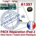 PACK iPad 2 A1397 Joint B PREMIUM Tablette iPad2 Bouton Precollé Verre Tactile HOME Blanche Cadre Réparation Apple Adhésif Ecran Vitre