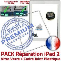 PACK Tactile Chassis Tablette Adhésif HOME Verre iPad2 Apple Réparation Vitre Joint Blanche B Precollé PREMIUM Cadre Bouton Écran