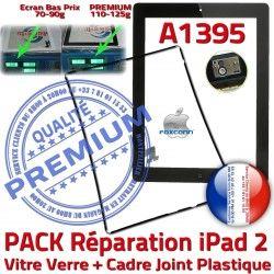 Chassis Cadre Réparation Apple PREMIUM Tactile Verre PACK Tablette Vitre A1395 Adhésif iPad Joint Precollé KIT iPad2 Noire HOME N Bouton 2