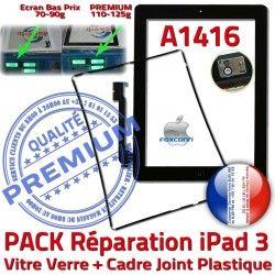 KIT iPad3 Adhésif Noire A1416 Chassis N Apple 3 iPad PACK Verre Tactile HOME Vitre Precollé Bouton Tablette Réparation Joint Cadre PREMIUM