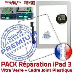 KIT iPad3 Precollée Joint Cadre Vitre Adhésif Réparation Contour HOME PREMIUM Apple Verre Bouton Blanche B PACK Tactile Tablette