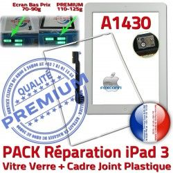 Réparation Tactile Apple Verre Contour Precollée Vitre PACK Joint 3 iPad Adhésif PREMIUM Bouton A1430 Cadre B iPad3 HOME Tablette Blanche