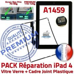 Apple PREMIUM iPad4 N PACK Vitre Bouton iPad Joint A1459 HOME Adhésif Precollé 4 Tablette Chassis KIT Noire Tactile Verre Réparation Cadre