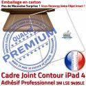 PACK iPad4 Joint B KIT Apple Bouton Réparation Vitre Adhésif Cadre Contour Tactile Blanche PREMIUM Verre HOME Precollée Tablette
