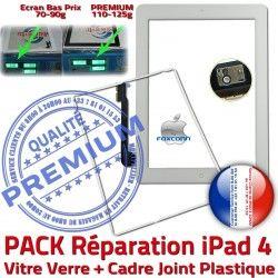 iPad4 Tactile Verre KIT Blanche Bouton Precollée Cadre PREMIUM Tablette Adhésif Apple B HOME Contour Joint PACK Vitre Réparation