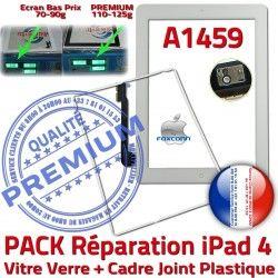 Bouton Precollée Blanche PREMIUM Verre Tablette Apple iPad HOME B Adhésif Contour Réparation PACK iPad4 Cadre A1459 4 Joint Vitre Tactile