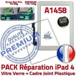 Verre B Cadre Bouton Joint Adhésif Réparation Vitre PREMIUM 4 Apple A1458 iPad4 iPad Tablette Tactile Blanche HOME PACK Contour Precollée