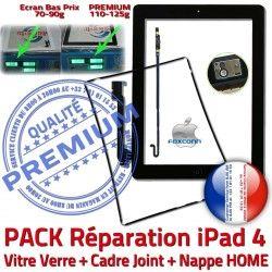 iPad Tablette Precollé Vitre Adhésif 4 PREMIUM Tactile Nappe Cadre Plastique Verre HOME N Apple Noire Joint Bouton KIT Réparation PACK iPad4