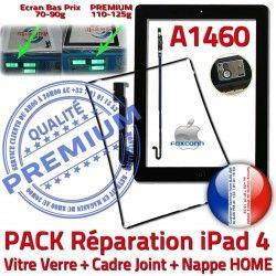Cadre Plastique Apple Tactile Vitre PACK iPad4 A1460 Tablette Joint N Contour Nappe Réparation KIT Adhésif Precollé Bouton HOME Verre Noire