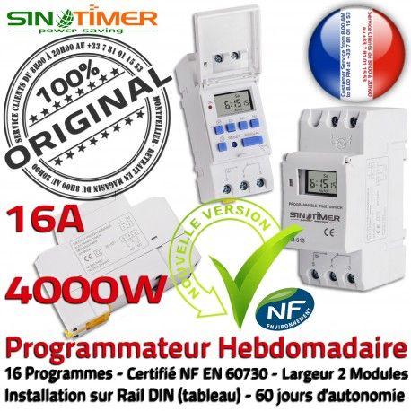 Programmation Chauffage 16A 4kW Electronique Jour-Nuit Creuses Automatique 4000W Programmateur Contacteur Heures DIN Hebdomadaire Rail