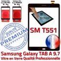 Samsung Galaxy TAB A SM-T551 N Prémonté T551 SM Tactile Adhésif Noir Assemblée Supérieure TAB-A Qualité PREMIUM Vitre Noire Ecran 9.7 Verre