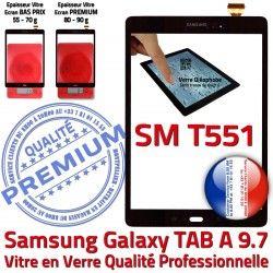 N T551 Supérieure SM Assemblé Adhésif Assemblée Ecran Galaxy Tactile Qualité Samsung Vitre Verre 9.7 TAB-A Noir Noire SM-T551 PREMIUM