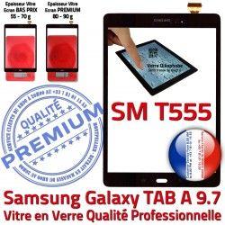 Qualité SM-T555 Verre A Adhésif Assemblée Noir TAB PREMIUM Supérieure Tactile TAB-A Prémonté T555 Ecran SM Noire Galaxy Vitre 9.7 N Samsung