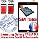 Samsung Galaxy TAB-A SM T555 N Ecran Supérieure Noire SM-T555 Tactile 9.7 Qualité Verre Adhésif Assemblée Vitre PREMIUM Assemblé Noir