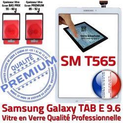 Tactile B SM Prémonté Qualité Vitre SM-T565 E Galaxy PREMIUM T565 Assemblée Ecran Supérieure Samsung 9.6 TAB Verre TAB-E Blanche Adhésif Blanc