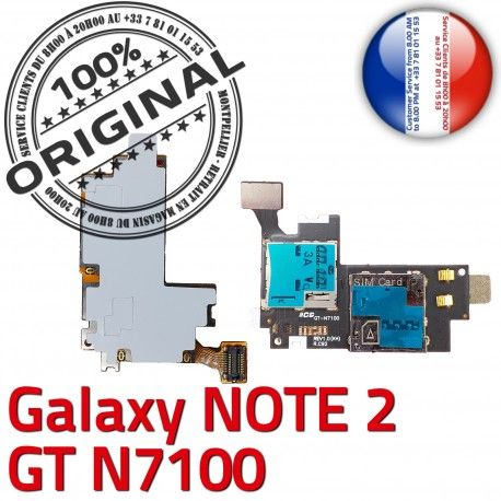 Samsung Galaxy NOTE2 GT N7100 S1 Connecteur ORIGINAL Contact Qualité Lecteur Connector SIM Reader Doré Nappe Carte Memoire Micro-SD