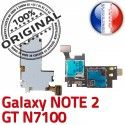 ORIGINAL Samsung Galaxy NOTE2 GT N7100 Lecteur Carte Memoire SIM Micro-SD Connecteur Contact Doré Reader Connector Nappe Qualité