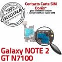 Samsung Galaxy NOTE2 GT N7100 S1 Contact Qualité Micro-SD Doré Carte Reader Connecteur Memoire Nappe ORIGINAL Lecteur SIM Connector