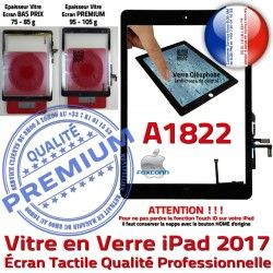 iPad Nappe Tactile AIR Noir Verre Vitre Qualité Ecran IC Fixation Oléophobe HOME Tablette A1822 Adhésif Réparation Caméra Monté