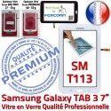 Samsung Galaxy SM-T113 Tab3 B Blanche Assemblée 7 en PREMIUM TAB3 Prémonté Supérieure Vitre Verre Qualité Ecran LCD Tactile Adhésif