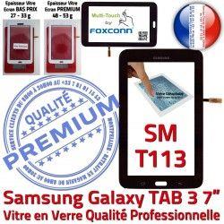 Galaxy Adhésif TAB3 LCD Qualité Tactile Ecran Noir LITE en Supérieure Verre Noire Assemblée T113 7 PREMIUM Prémonté Vitre SM Samsung SM-T113