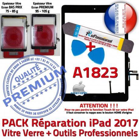 PACK iPad AIR A1823 N Réparation KIT Verre Precollé Outils Tactile PREMIUM HOME Qualité Oléophobe Noire Adhésif Démontage Bouton Vitre