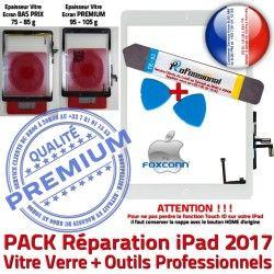 iPad Verre Blanche iLAME Vitre inch 2017 Tactile Precollé 9.7 Bouton HOME Adhésif KIT Réparation PACK Outils Oléophobe Nappe B PREMIUM Qualité