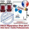 PACK iPad 2017 9.7 inch B Verre Réparation PREMIUM Oléophobe Precollé Nappe Bouton Tactile Vitre KIT iLAME HOME Outils Qualité Adhésif Blanche
