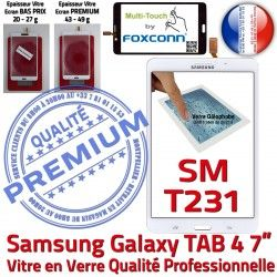 PREMIUM Blanche B SM-T231NZWAXEF Galaxy Qualité TAB4 Assemblée Verre LCD Samsung Adhésif Prémonté Vitre Supérieure Tactile Ecran