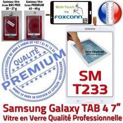 Qualité PREMIUM Tactile Assemblée Vitre 4 Verre SM-T233 7 LCD Blanche TAB Samsung B inch T233 Adhésif Galaxy Supérieure Prémonté TAB4 SM Ecran