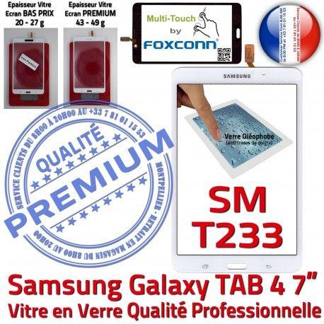 Samsung Galaxy SM-T233NZWAXEF B PREMIUM Adhésif Qualité Assemblée NZWAXEF Tactile Prémonté TAB4 Verre LCD Supérieure Vitre SM-T233 Ecran Blanche