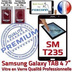 Noire SM-T235 Galaxy Prémonté N Vitre inch Qualité Ecran Adhésif Supérieure Verre Assemblée Samsung LCD TAB4 Tactile 7 PREMIUM