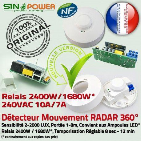 Capteur de Présence SINOPower Ampoules Éclairage Lampe Économie Automatique Hyper 360° Luminaire Micro-Ondes Détecteur HF Mouvement énergie LED Fréquence