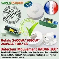 Relais Mouvements Économie Lampe Consommation Basse Énergie Électrique 360° Présence de Automatique Détecteur Éclairage SINOPower Capteur